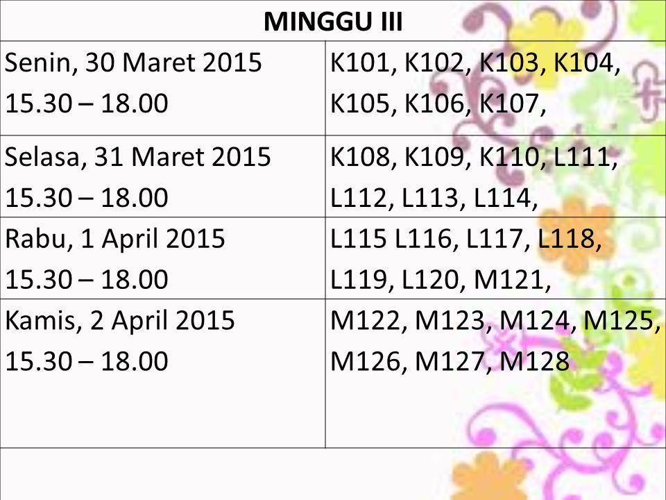MINGGU III Senin, 30 Maret 2015. 15.30 – 18.00. K101, K102, K103, K104, K105, K106, K107, Selasa, 31 Maret 2015.