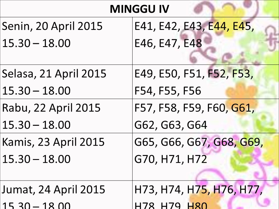 MINGGU IV Senin, 20 April 2015. 15.30 – 18.00. E41, E42, E43, E44, E45, E46, E47, E48. Selasa, 21 April 2015.