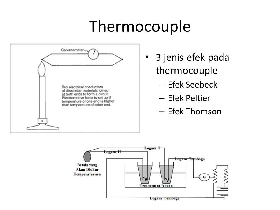 Thermocouple 3 jenis efek pada thermocouple Efek Seebeck Efek Peltier