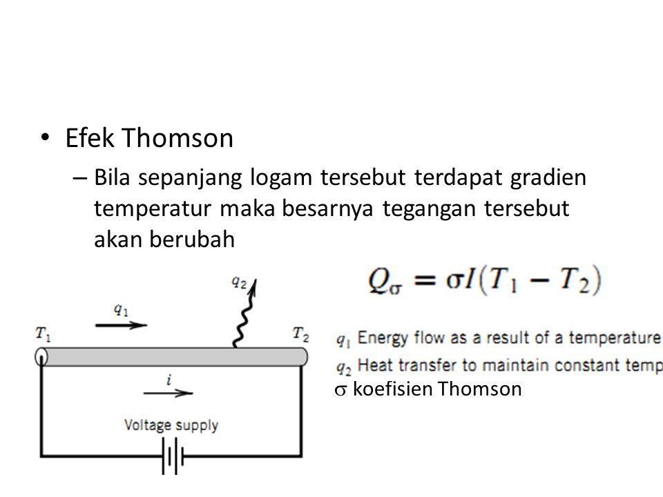Efek Thomson Bila sepanjang logam tersebut terdapat gradien temperatur maka besarnya tegangan tersebut akan berubah.