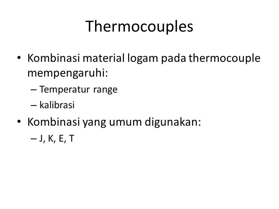 Thermocouples Kombinasi material logam pada thermocouple mempengaruhi: