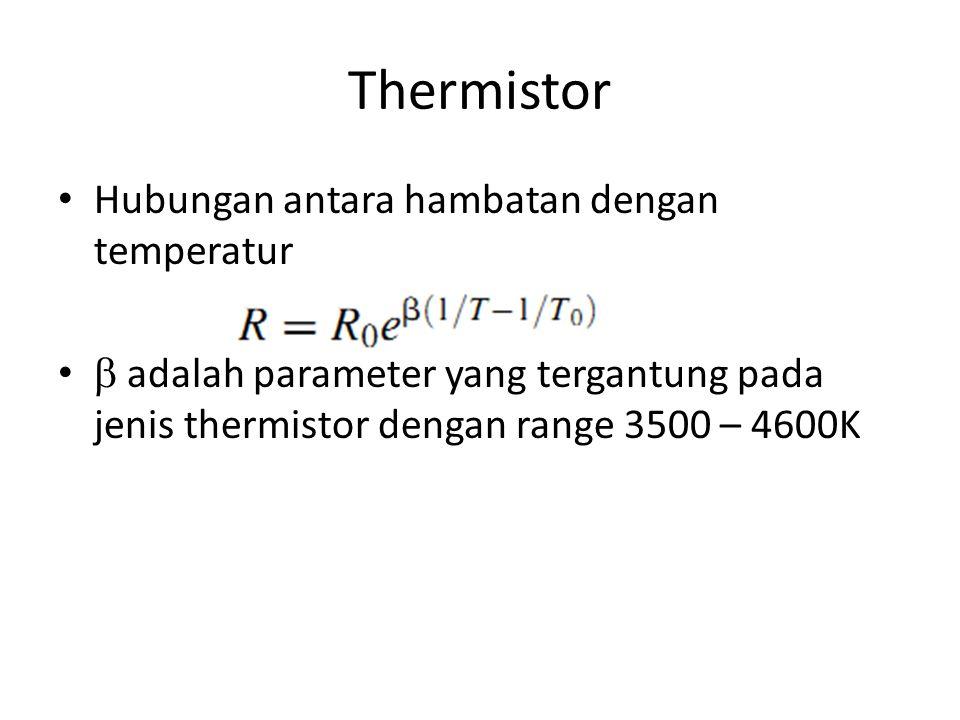 Thermistor Hubungan antara hambatan dengan temperatur