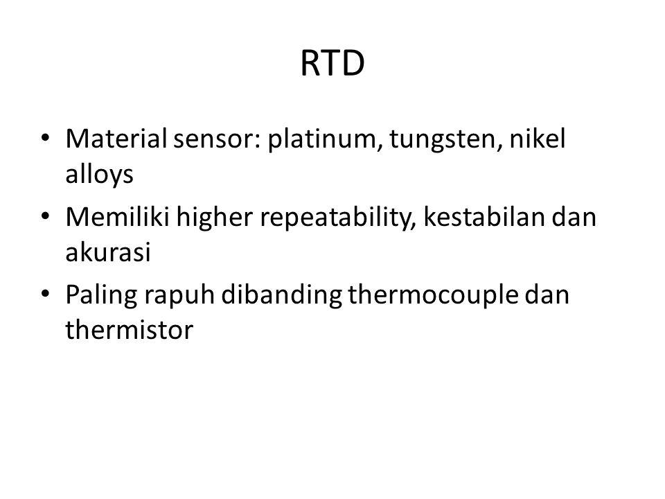 RTD Material sensor: platinum, tungsten, nikel alloys