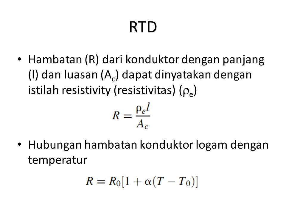 RTD Hambatan (R) dari konduktor dengan panjang (l) dan luasan (Ac) dapat dinyatakan dengan istilah resistivity (resistivitas) (e)