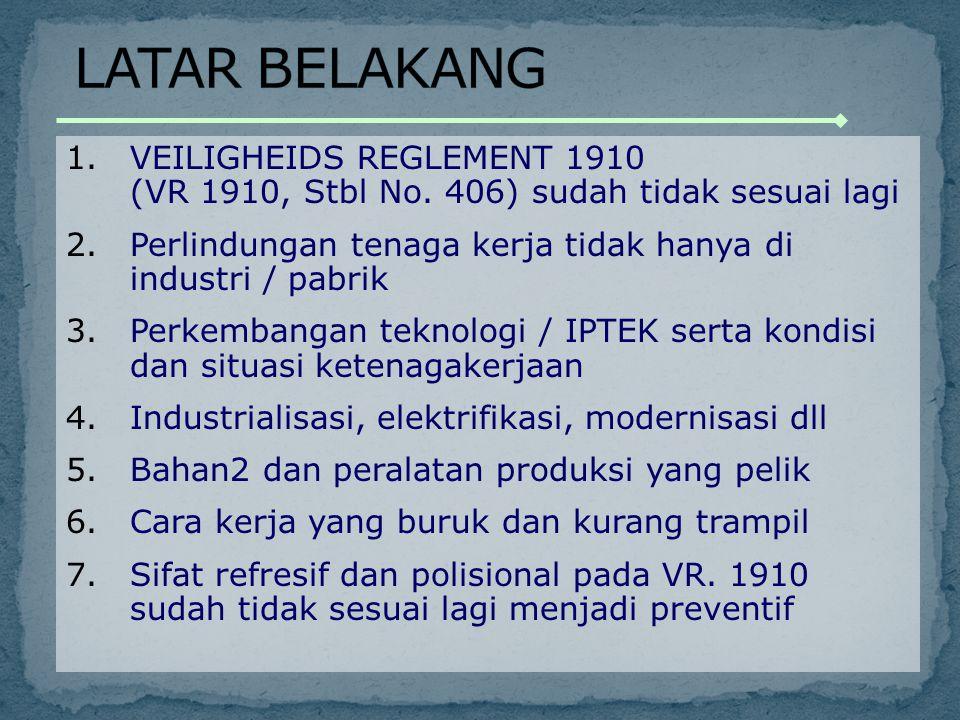 LATAR BELAKANG VEILIGHEIDS REGLEMENT 1910 (VR 1910, Stbl No. 406) sudah tidak sesuai lagi.