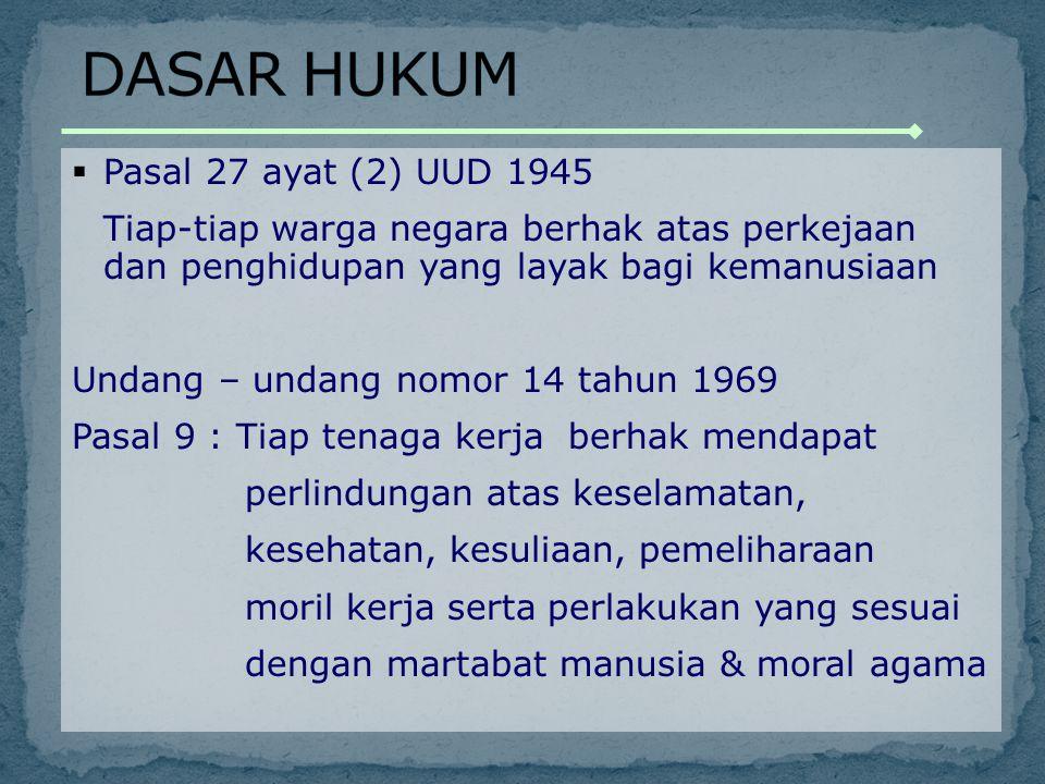 DASAR HUKUM Pasal 27 ayat (2) UUD 1945