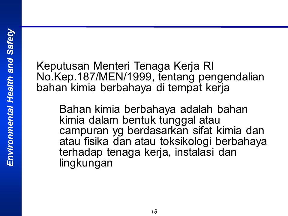 Keputusan Menteri Tenaga Kerja RI No. Kep