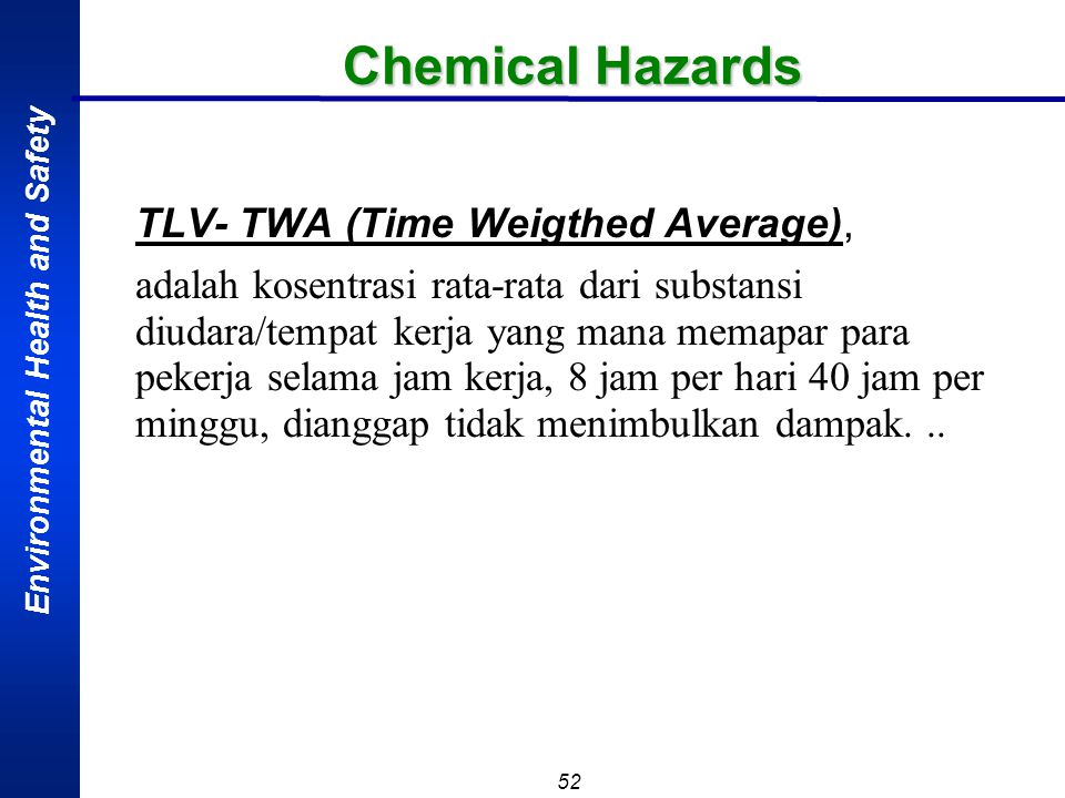 Chemical Hazards TLV- TWA (Time Weigthed Average),