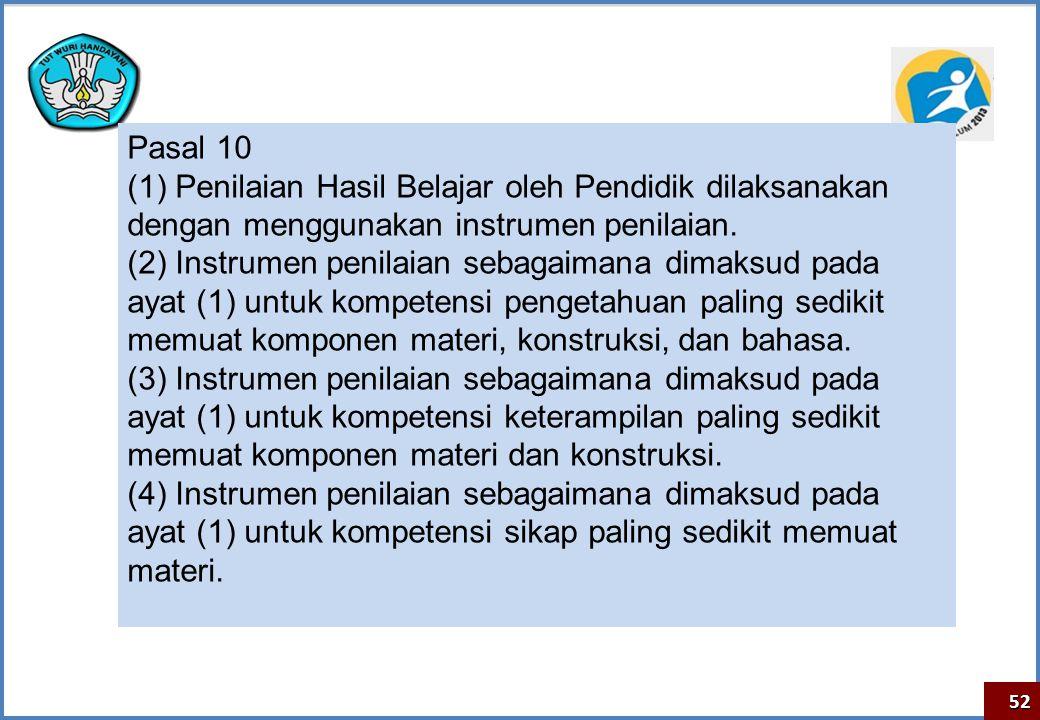 Pasal 10 (1) Penilaian Hasil Belajar oleh Pendidik dilaksanakan dengan menggunakan instrumen penilaian.