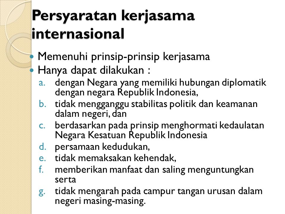 Persyaratan kerjasama internasional