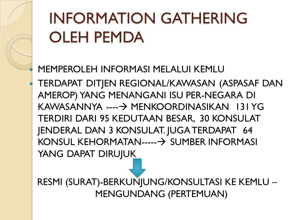 INFORMATION GATHERING OLEH PEMDA