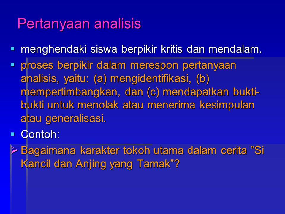 Pertanyaan analisis menghendaki siswa berpikir kritis dan mendalam.