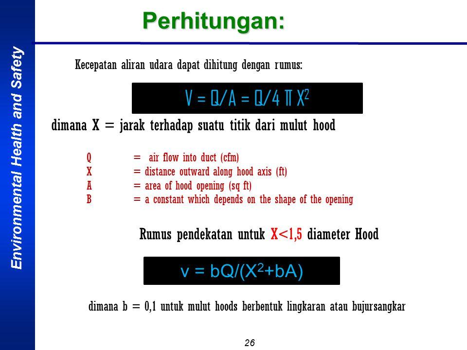 Perhitungan: V = Q/A = Q/4 ∏ X2 v = bQ/(X2+bA)