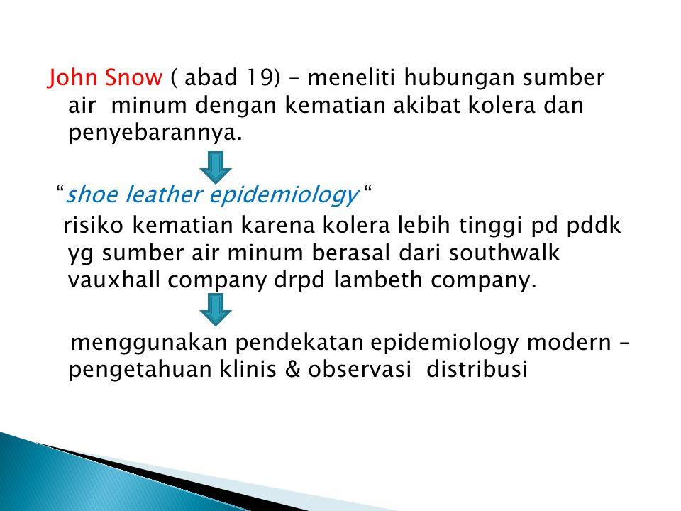 John Snow ( abad 19) – meneliti hubungan sumber air minum dengan kematian akibat kolera dan penyebarannya.