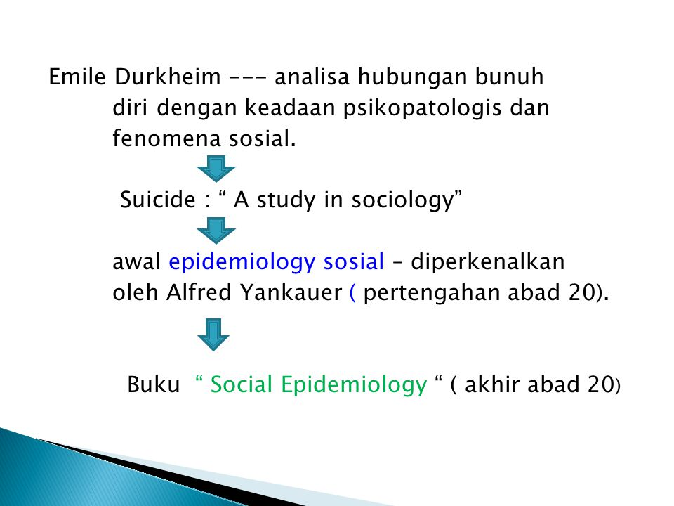 Emile Durkheim --- analisa hubungan bunuh diri dengan keadaan psikopatologis dan fenomena sosial.