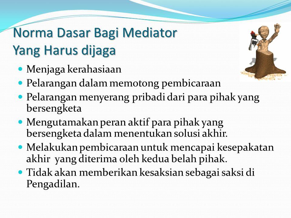 Norma Dasar Bagi Mediator Yang Harus dijaga