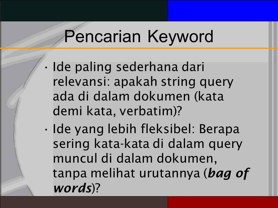 Pencarian Keyword Ide paling sederhana dari relevansi: apakah string query ada di dalam dokumen (kata demi kata, verbatim)