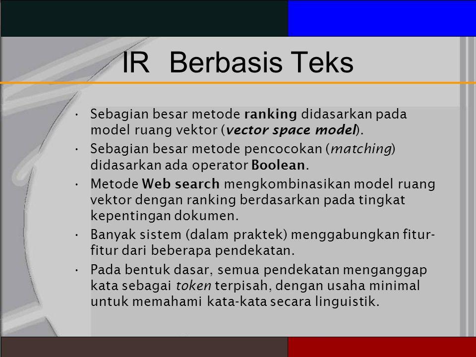 IR Berbasis Teks Sebagian besar metode ranking didasarkan pada model ruang vektor (vector space model).