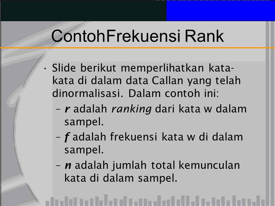 Contoh Frekuensi Rank Slide berikut memperlihatkan kata-kata di dalam data Callan yang telah dinormalisasi. Dalam contoh ini:
