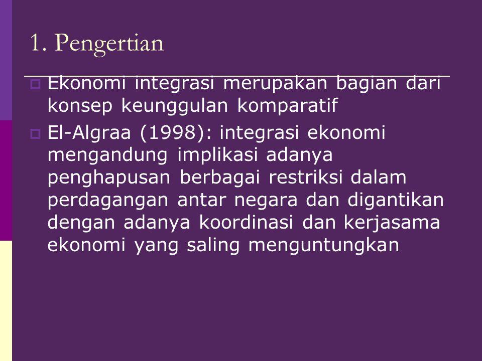 1. Pengertian Ekonomi integrasi merupakan bagian dari konsep keunggulan komparatif.