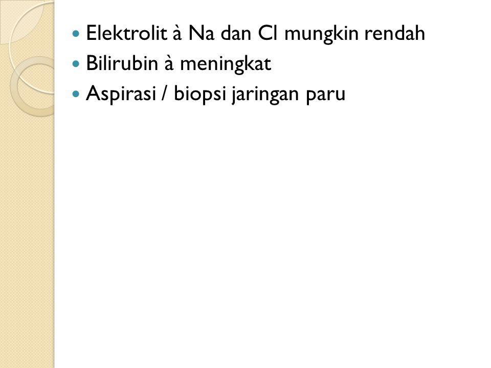 Elektrolit à Na dan Cl mungkin rendah