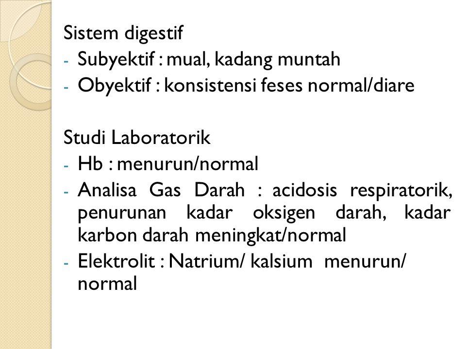 Sistem digestif Subyektif : mual, kadang muntah. Obyektif : konsistensi feses normal/diare. Studi Laboratorik.