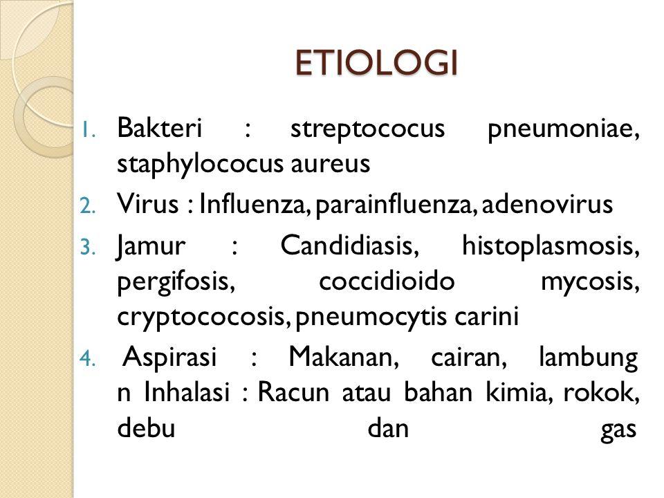 ETIOLOGI Bakteri : streptococus pneumoniae, staphylococus aureus