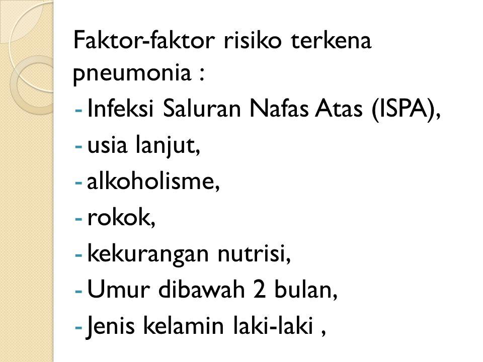Faktor-faktor risiko terkena pneumonia :