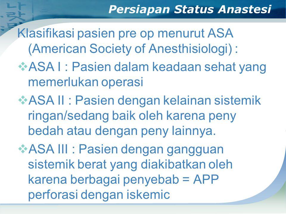 Persiapan Status Anastesi