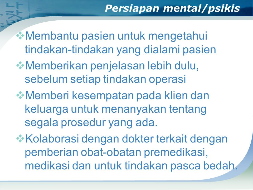 Persiapan mental/psikis