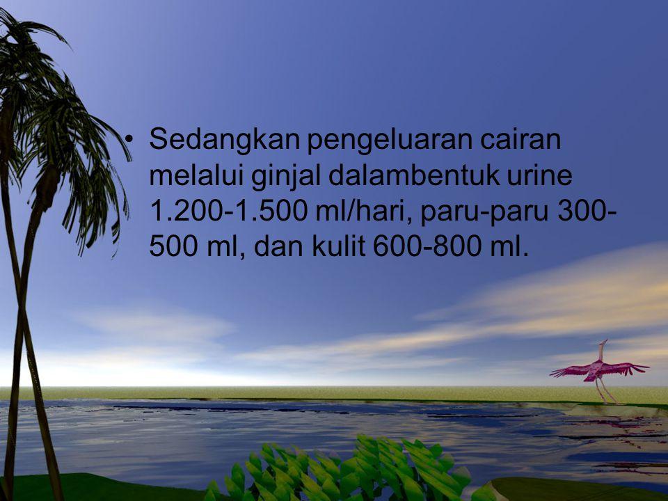Sedangkan pengeluaran cairan melalui ginjal dalambentuk urine 1. 200-1