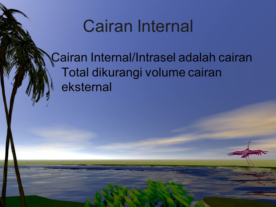 Cairan Internal Cairan Internal/Intrasel adalah cairan Total dikurangi volume cairan eksternal
