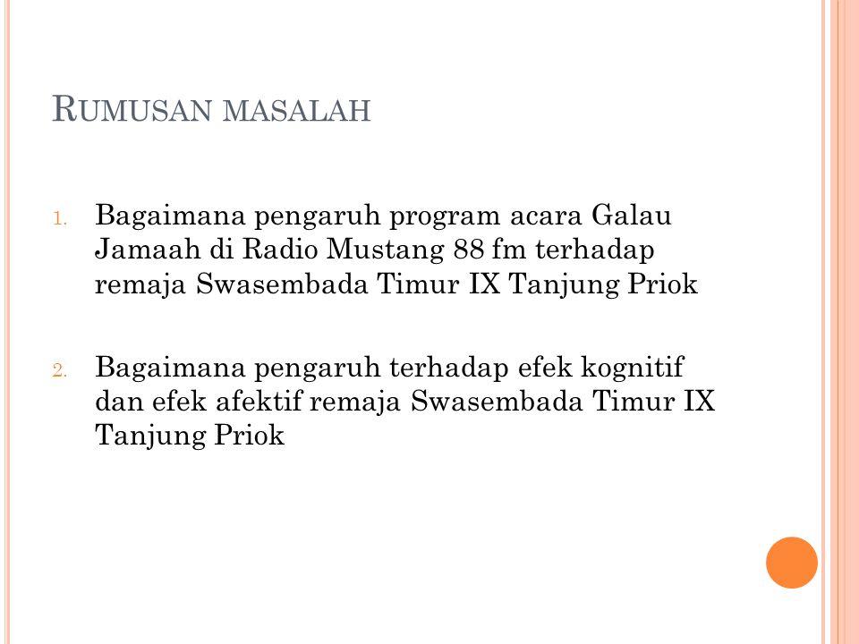 Rumusan masalah Bagaimana pengaruh program acara Galau Jamaah di Radio Mustang 88 fm terhadap remaja Swasembada Timur IX Tanjung Priok.