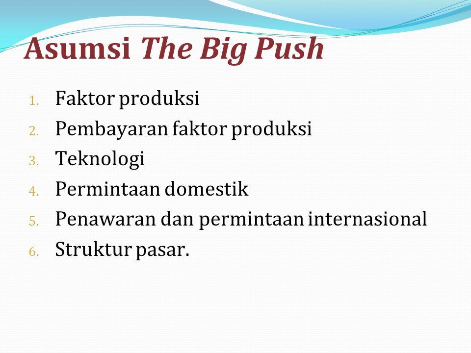 Asumsi The Big Push Faktor produksi Pembayaran faktor produksi