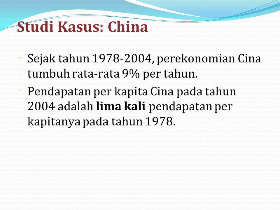 Studi Kasus: China Sejak tahun 1978-2004, perekonomian Cina tumbuh rata-rata 9% per tahun.