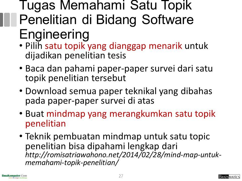 Tugas Memahami Satu Topik Penelitian di Bidang Software Engineering