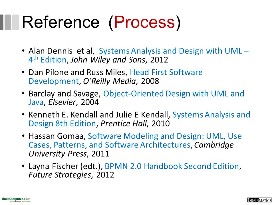Reference (Process) Alan Dennis et al, Systems Analysis and Design with UML – 4th Edition, John Wiley and Sons, 2012.