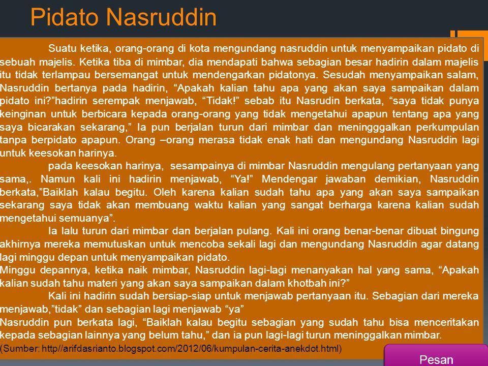 Pidato Nasruddin
