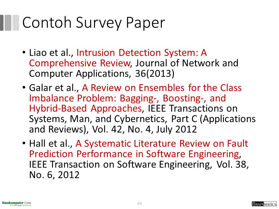 Contoh Survey Paper Liao et al., Intrusion Detection System: A Comprehensive Review, Journal of Network and Computer Applications, 36(2013)