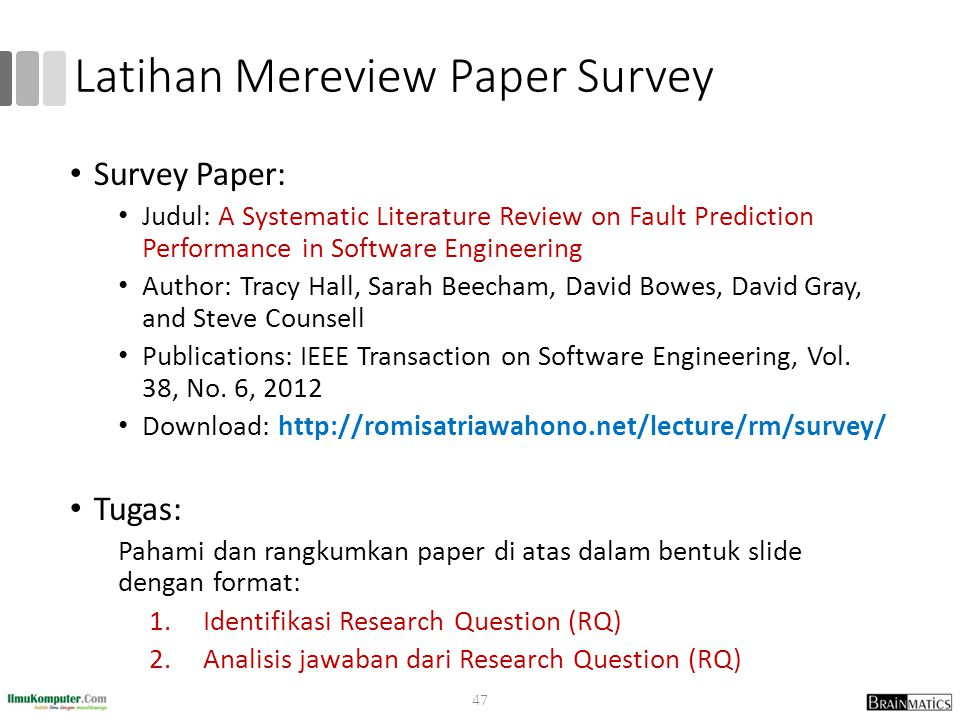 Latihan Mereview Paper Survey