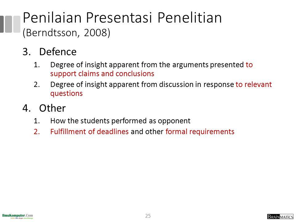 Penilaian Presentasi Penelitian (Berndtsson, 2008)
