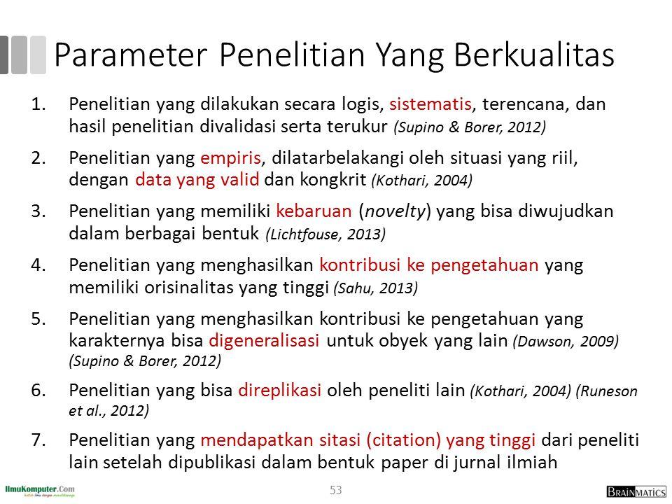 Parameter Penelitian Yang Berkualitas