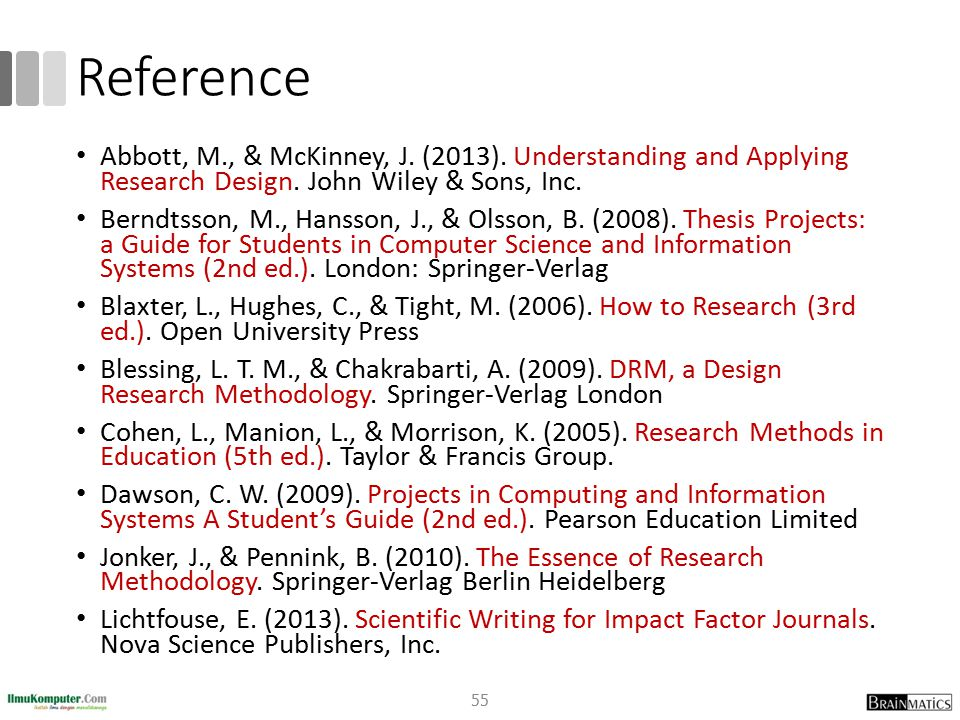 Reference Abbott, M., & McKinney, J. (2013). Understanding and Applying Research Design. John Wiley & Sons, Inc.