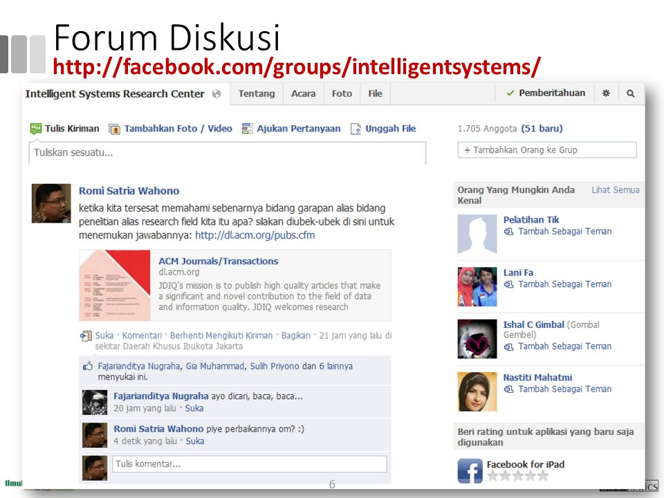 Forum Diskusi http://facebook.com/groups/intelligentsystems/
