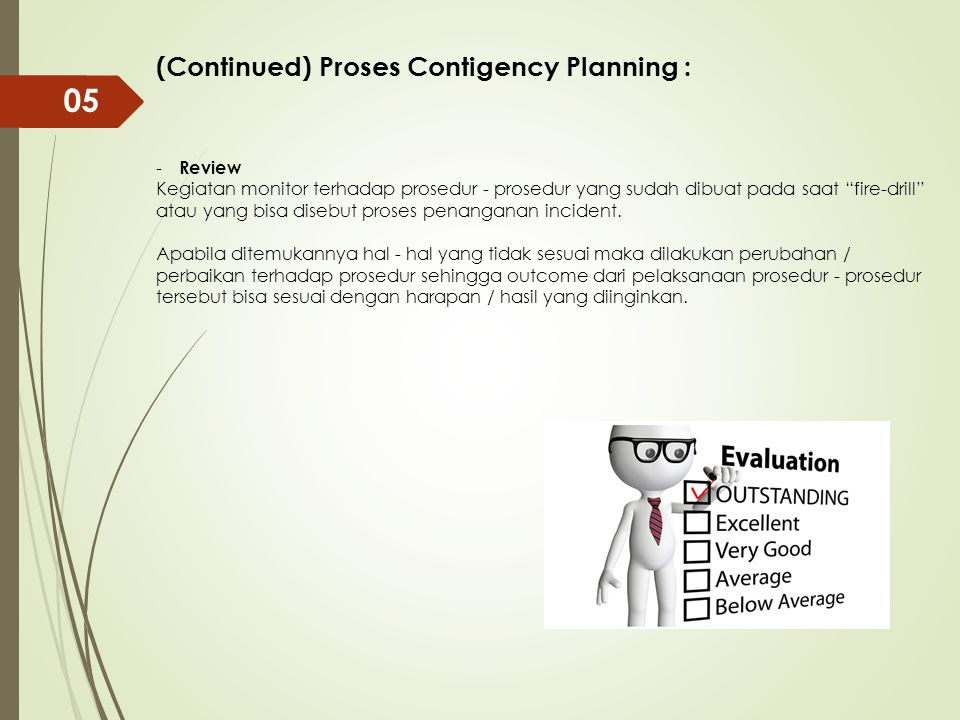 05 (Continued) Proses Contigency Planning : Review