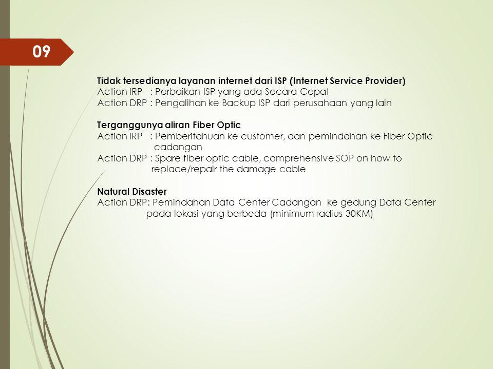 09 Tidak tersedianya layanan internet dari ISP (Internet Service Provider) Action IRP : Perbaikan ISP yang ada Secara Cepat.