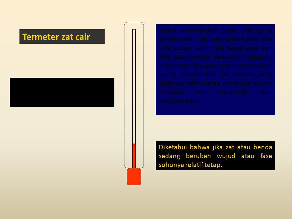 Untuk memberikan skala ukur pada termometer zat cair diperlukan dua titik acuan, yaitu titik tetap atas dan titik tetap bawah. Kedua titik tetap ini ditentukan dengan cara mencelupkan ujung termometer ke sistem yang suhunya relatif tetap meskipun sistem tersebut terus menyerap atau melepas kalor