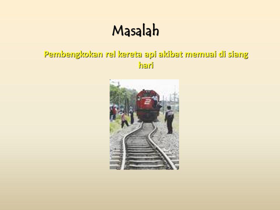 Pembengkokan rel kereta api akibat memuai di siang hari