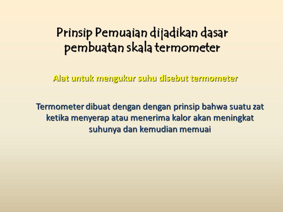 Prinsip Pemuaian dijadikan dasar pembuatan skala termometer