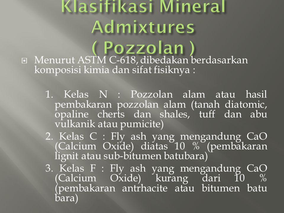 Klasifikasi Mineral Admixtures ( Pozzolan )